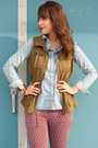Olive-green-military-vest-old-navy-vest-light-blue-chambray-topshop-shirt