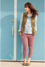 Light-blue-chambray-topshop-shirt-brick-red-print-h-m-pants