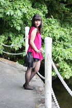 black H&M bag - black polka dots Zara skirt - white George top - hot pink vintag
