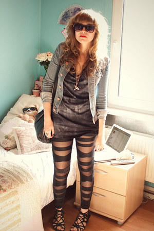 blue denim H&amp;M jacket - black mesh leggings - blue asos top