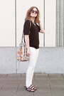 White-skinny-mango-jeans-white-promod-bag-dark-brown-mango-sunglasses