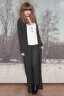 Dark-gray-allsaints-cardigan-white-h-m-top-black-new-look-boots