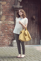 yellow Zara bag - gray skinny Zara jeans - off white marlen Mango t-shirt