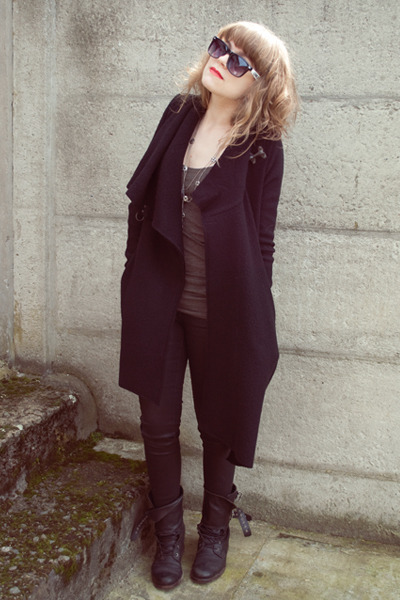 black wool allsaints coat