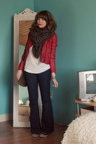 dark brown free people scarf - black Converse shoes