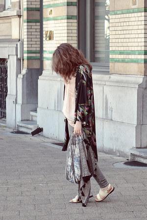 gray Zara jeans - beige jacquard Zara scarf - light pink camisole H&M top