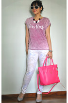 white floral H&M jeans - hot pink Tocco Tenero bag