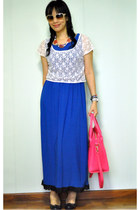 blue dress - hot pink Tocco Tenero bag - white lace cropped top