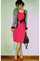 heather gray pull&bear jacket - hot pink dress - black Prada bag