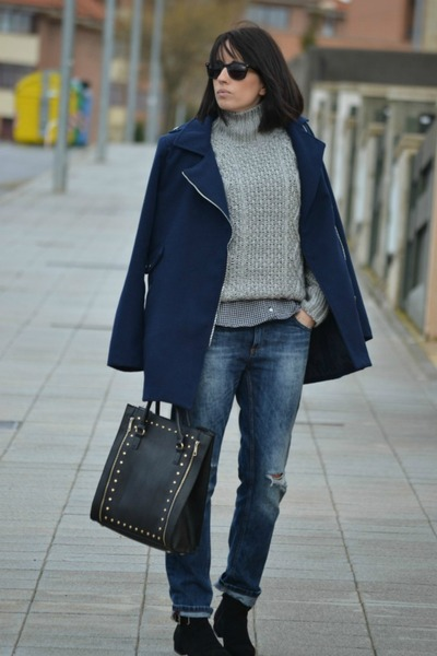 Menthashop sweater - Shana coat - pull&bear jeans