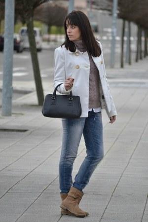 Mango jeans - Stradivarius coat - black Mango bag - Stradivarius jumper