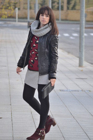 Lefties sweater - Stradivarius boots - Stradivarius jacket - H&M scarf