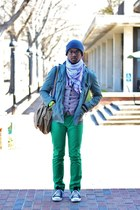 green Express jeans - black Converse shoes - green Express jacket