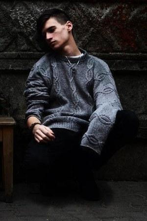 black skinny jeans pull&bear jeans - gray handmade no name sweater