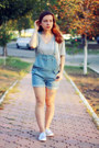 Sky-blue-denim-ami-clubwear-romper-heather-gray-ami-clubwear-sweatshirt