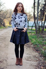 Brown-mango-boots-black-persunmall-skirt-silver-aupie-sweatshirt