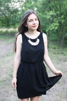 black new look dress - light yellow OASAP necklace