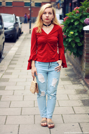 sky blue Sheinside jeans - red vintage blouse