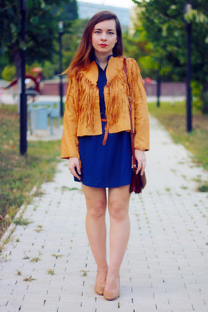 carrot orange suede CNdirect jacket - blue CNdirect dress