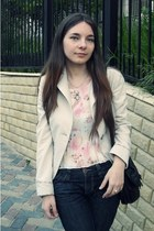 navy denim BSB jeans - eggshell denim vintage blazer - pink denim blouse