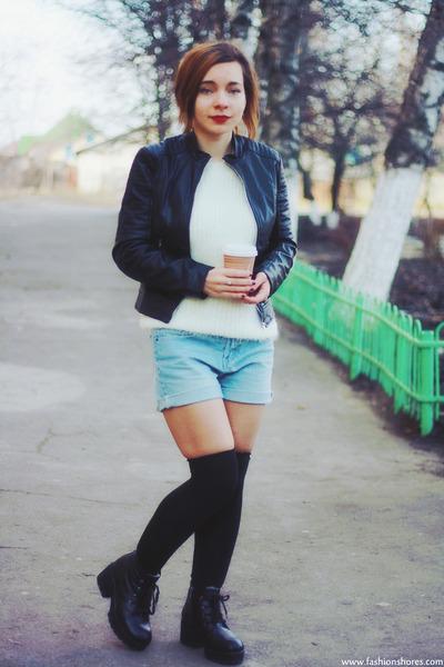 black Sheinside jacket - sky blue romwe shorts