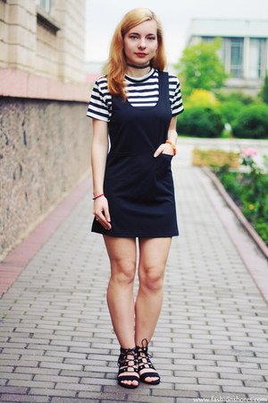 white shein dress - black Bershka sandals