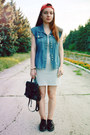 Silver-denim-jennyfer-dress-black-leather-trift-store-bag