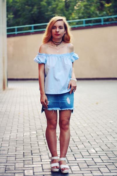 blue sammydress skirt - sky blue sammydress blouse