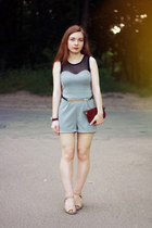 crimson leather vintage bag - heather gray Love Red Label bodysuit