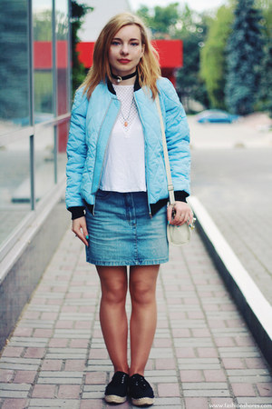 sky blue Sheinside jacket - black Lady Queen necklace