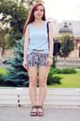 Black-chicnova-shorts-sky-blue-street-one-t-shirt