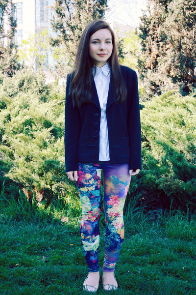 magenta romwe leggings - white Koton shirt