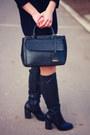 Black-leather-new-look-boots-deep-purple-wool-blue-vanilla-dress