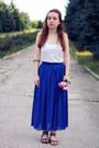 Blue-tb-dress-skirt-white-cotton-victorias-secret-top
