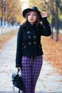 Black-redherring-coat-dark-gray-wool-dresslink-hat-magenta-vintage-pants