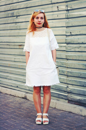 white denim shein dress