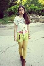 light yellow romwe tights - brick red Mango boots