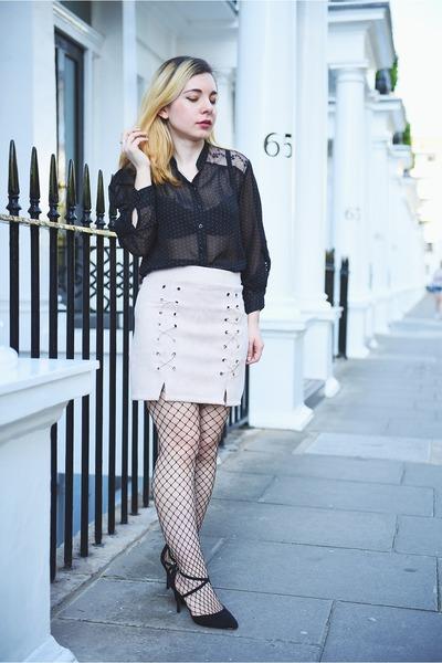cream suede Light in the box skirt - black asos heels