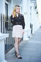 cream suede Light in the box skirt - black asos heels