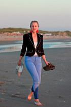 navy Incity jacket - sky blue Topshop jeans - white Topshop top