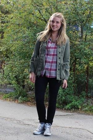 ruby red H&M blouse - heather gray Converse shoes - dark khaki Zara jacket