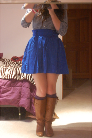 blue H&M skirt - blue thrifted shirt - brown Aldo boots - purple delias socks