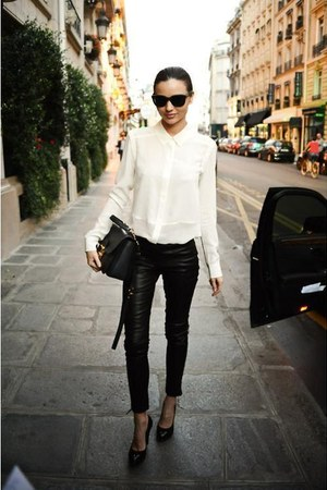 black  pants - white  blazer - black  heels