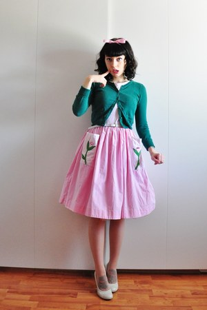 50s cotton vintage dress - pumps