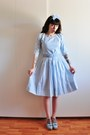 Periwinkle-50s-gingham-vintage-dress-periwinkle-mimmi-swedish-hasbeens-clogs