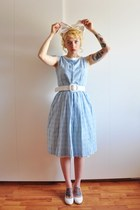 light blue 50s vintage dress - white Nelly pumps