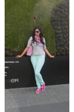 aquamarine jeans - bubble gum shoes - pink cotton scarf - bubble gum bag