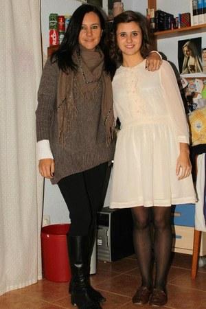 off white germany hm H&M dress - brown Zara shoes - black tights