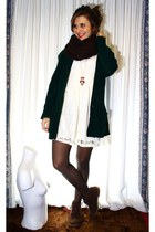 dark green Mum jacket - dark brown Primark boots - cream Sfera old dress