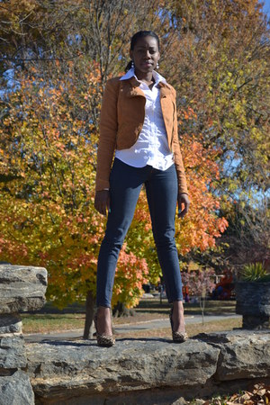 H&M jacket - skinny jeans Bebe jeans - new york and co shirt